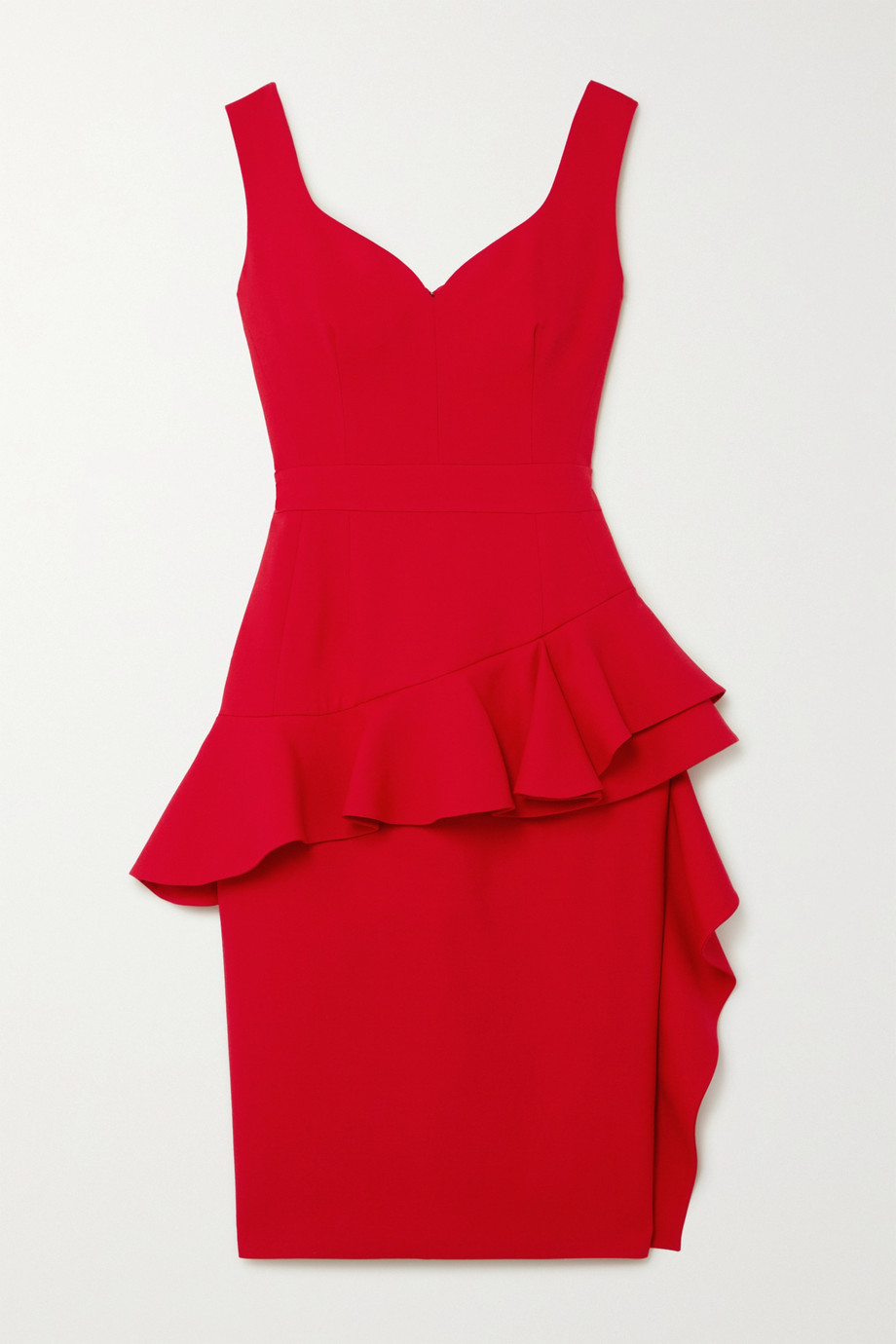 알렉산더 맥퀸 Alexander McQueen Ruffled wool-blend peplum dress,Red