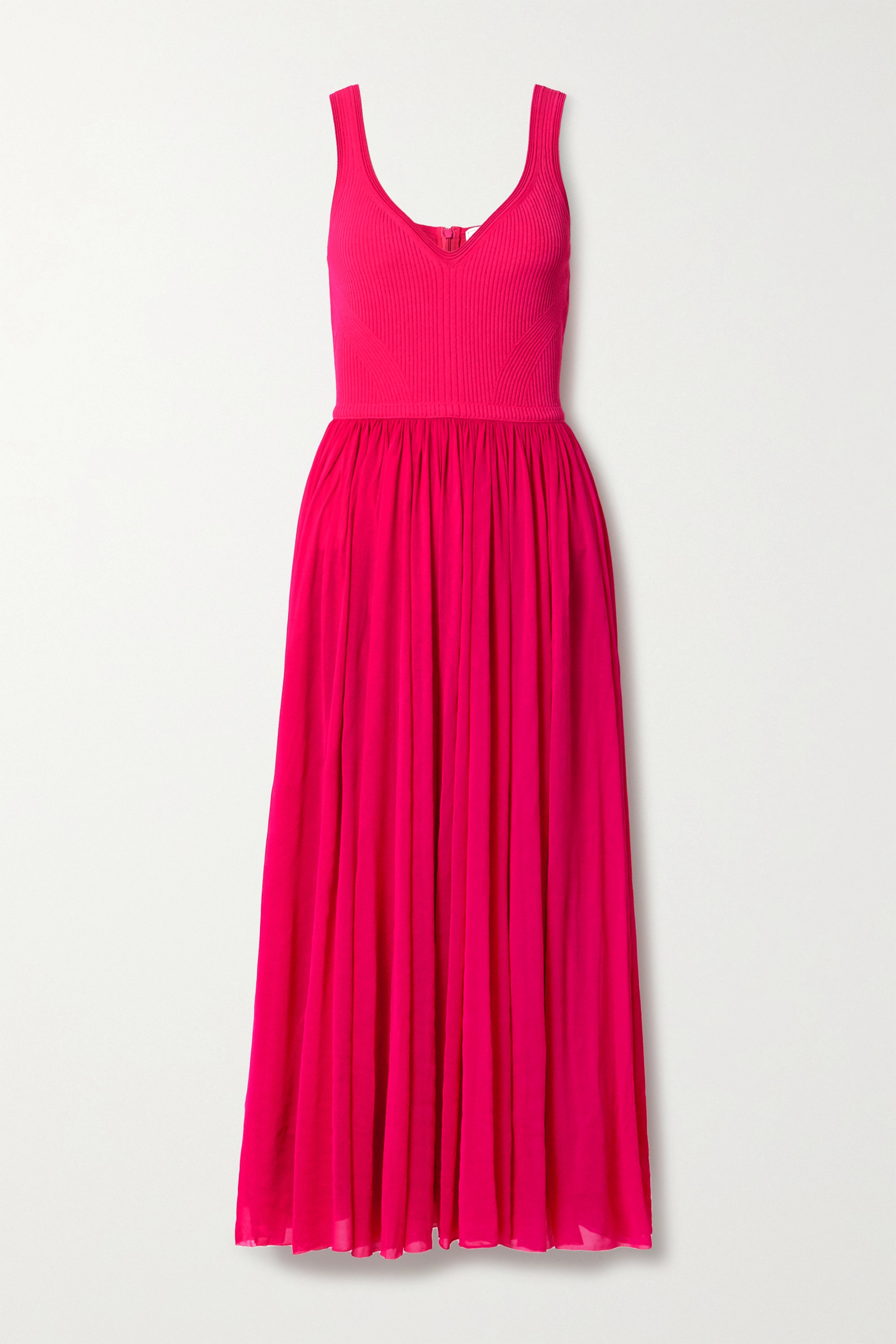 Alexander McQueen Chiffon and ribbed-knit midi dress