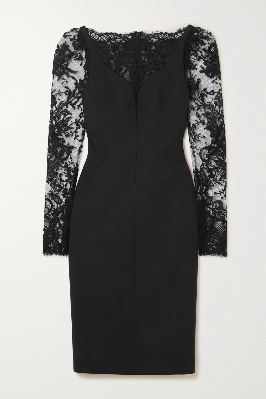 Alexander McQueen Lace-paneled wool-blend cady dress
