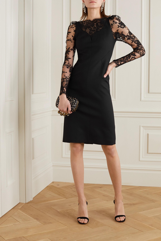 Alexander McQueen Lace-paneled wool-blend cady dress