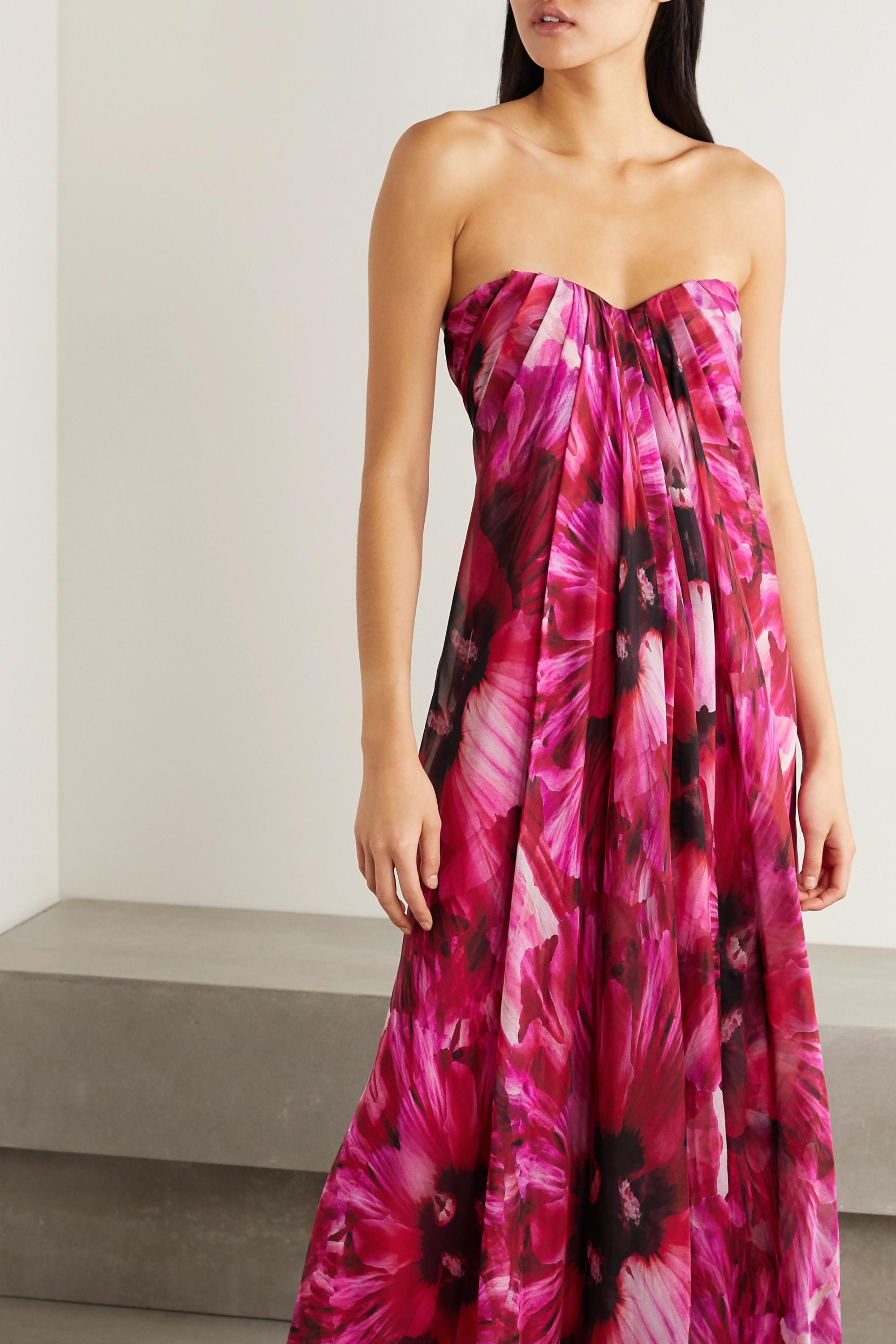 Alexander McQueen Robe du soir bustier en crêpe de Chine de soie à imprimé fleuri et à plis