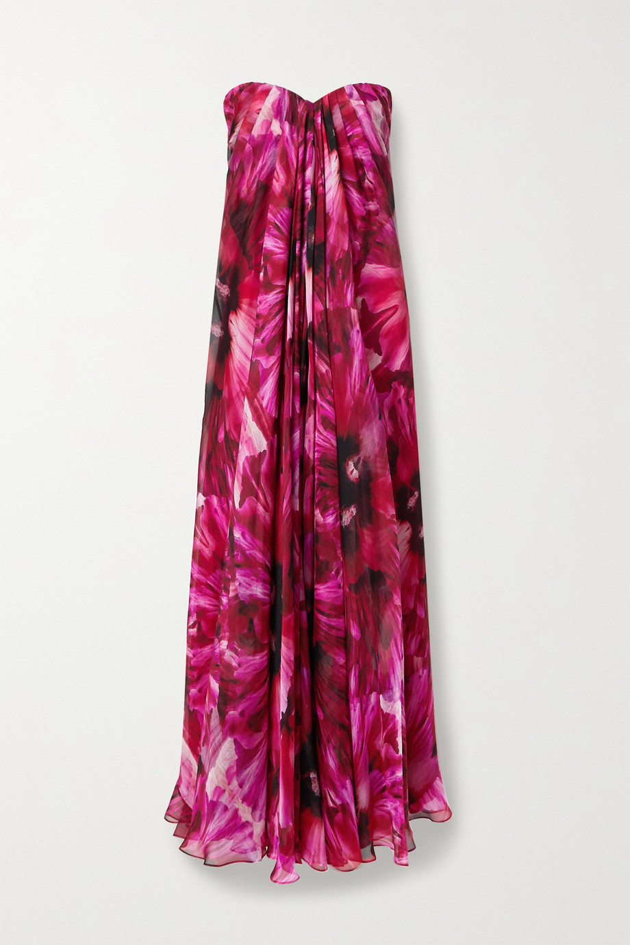Alexander McQueen Strapless pleated floral-print silk-crepe de chine gown