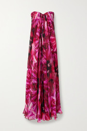 Strapless pleated floral-print silk-crepe de chine gown