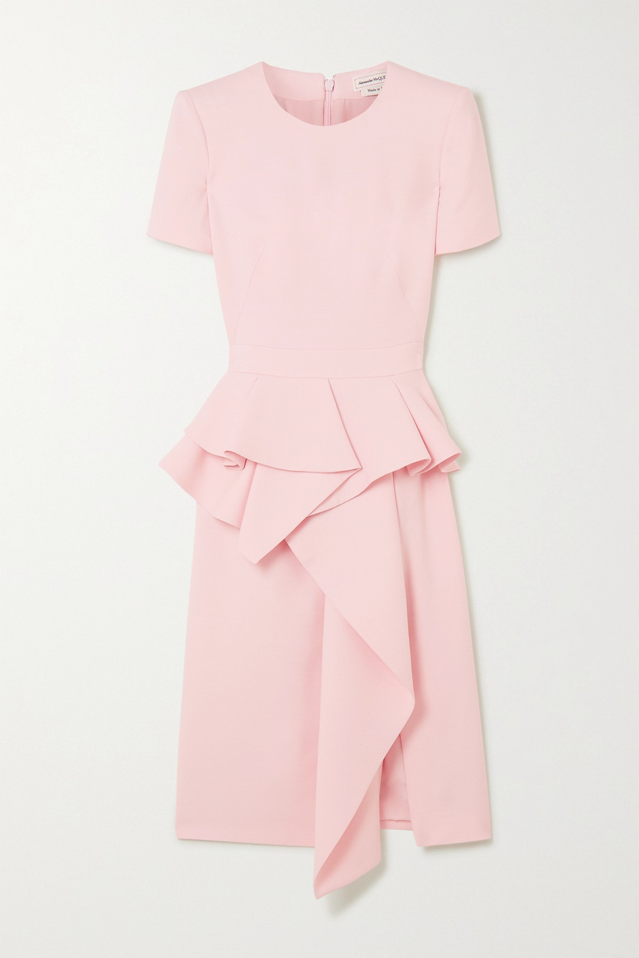 Alexander McQueen Ruffled wool-blend peplum dress
