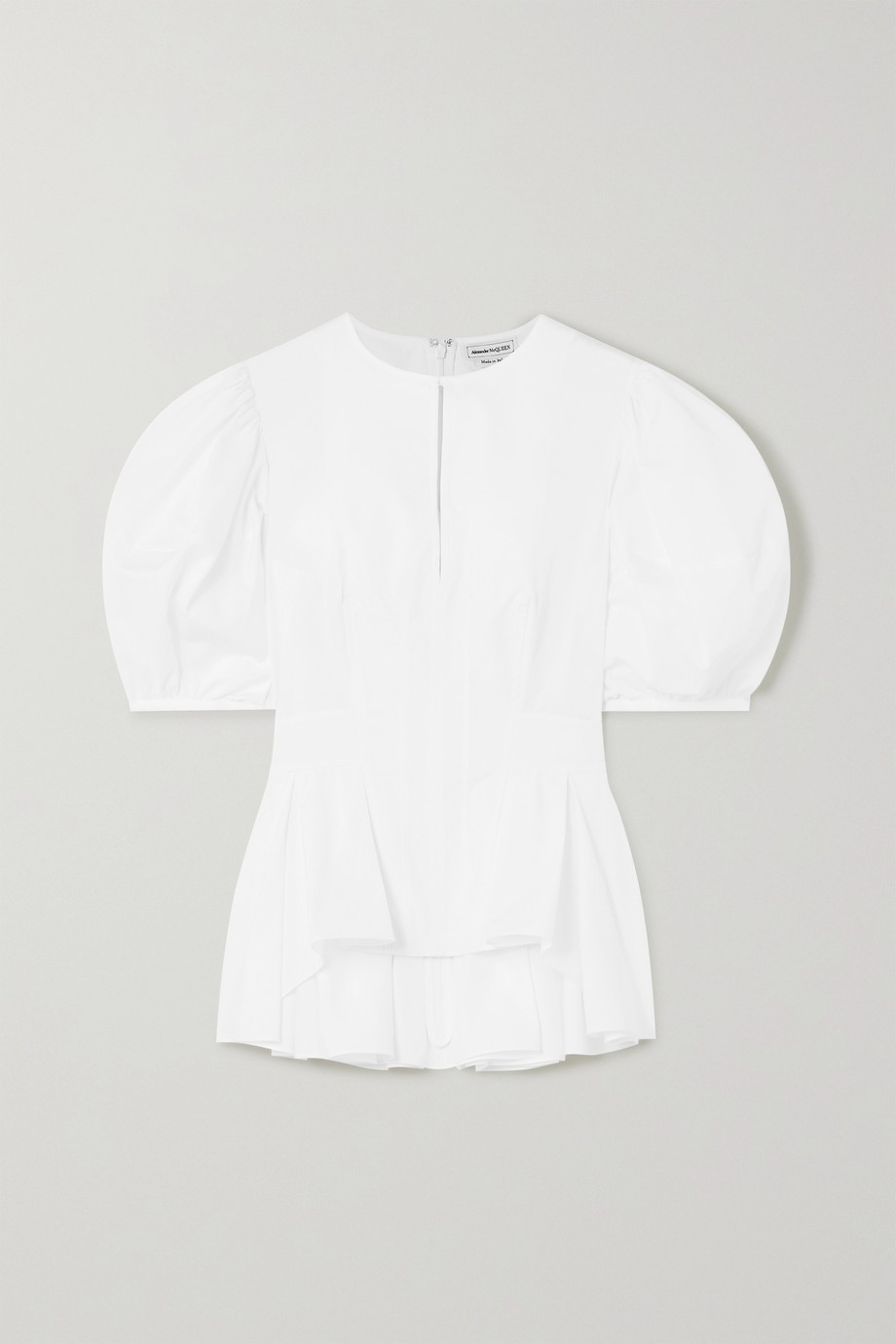 Alexander McQueen Pleated cotton-poplin peplum blouse