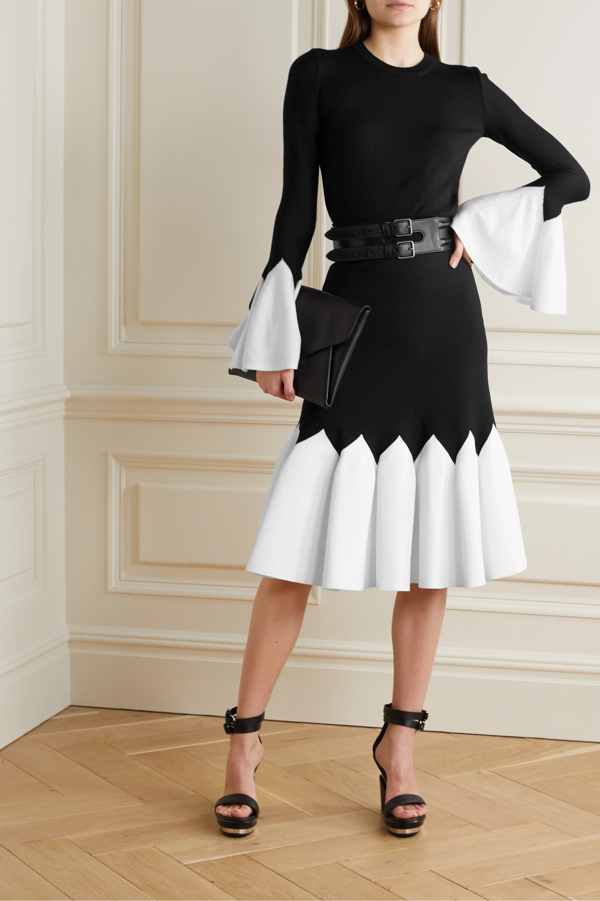 Alexander McQueen Two-tone stretch-knit midi skirt