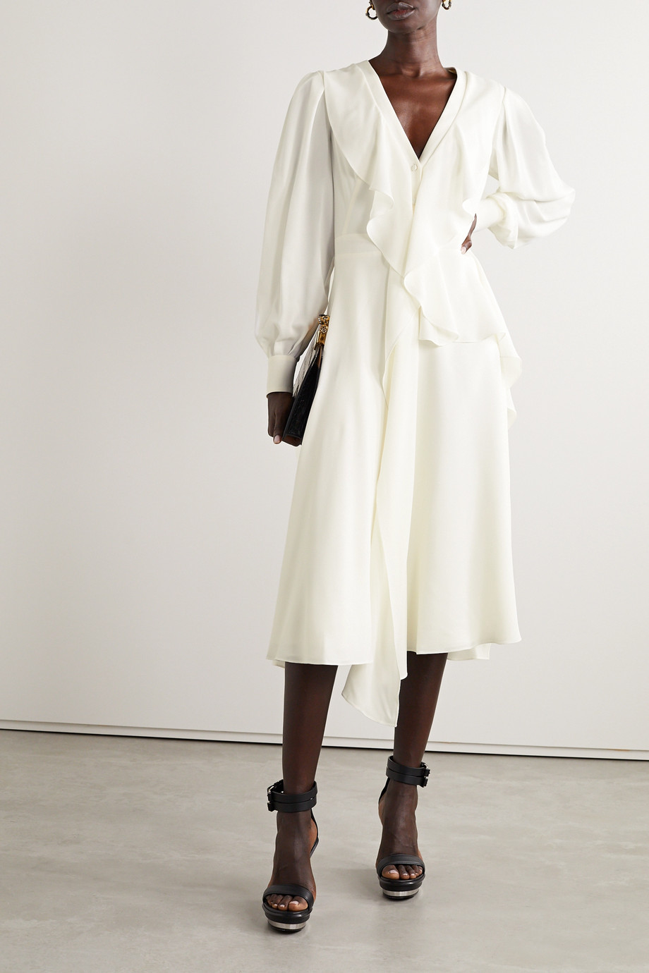 Alexander McQueen Ruffled silk-georgette midi dress