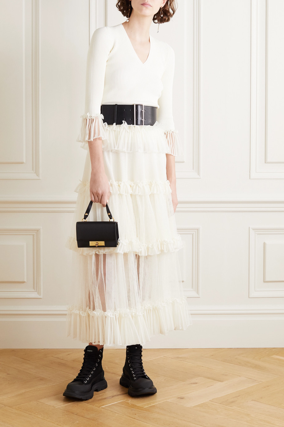 Alexander McQueen Ruffled silk-trimmed ribbed-knit midi skirt