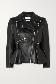 Alexander McQueen Leather peplum biker jacket