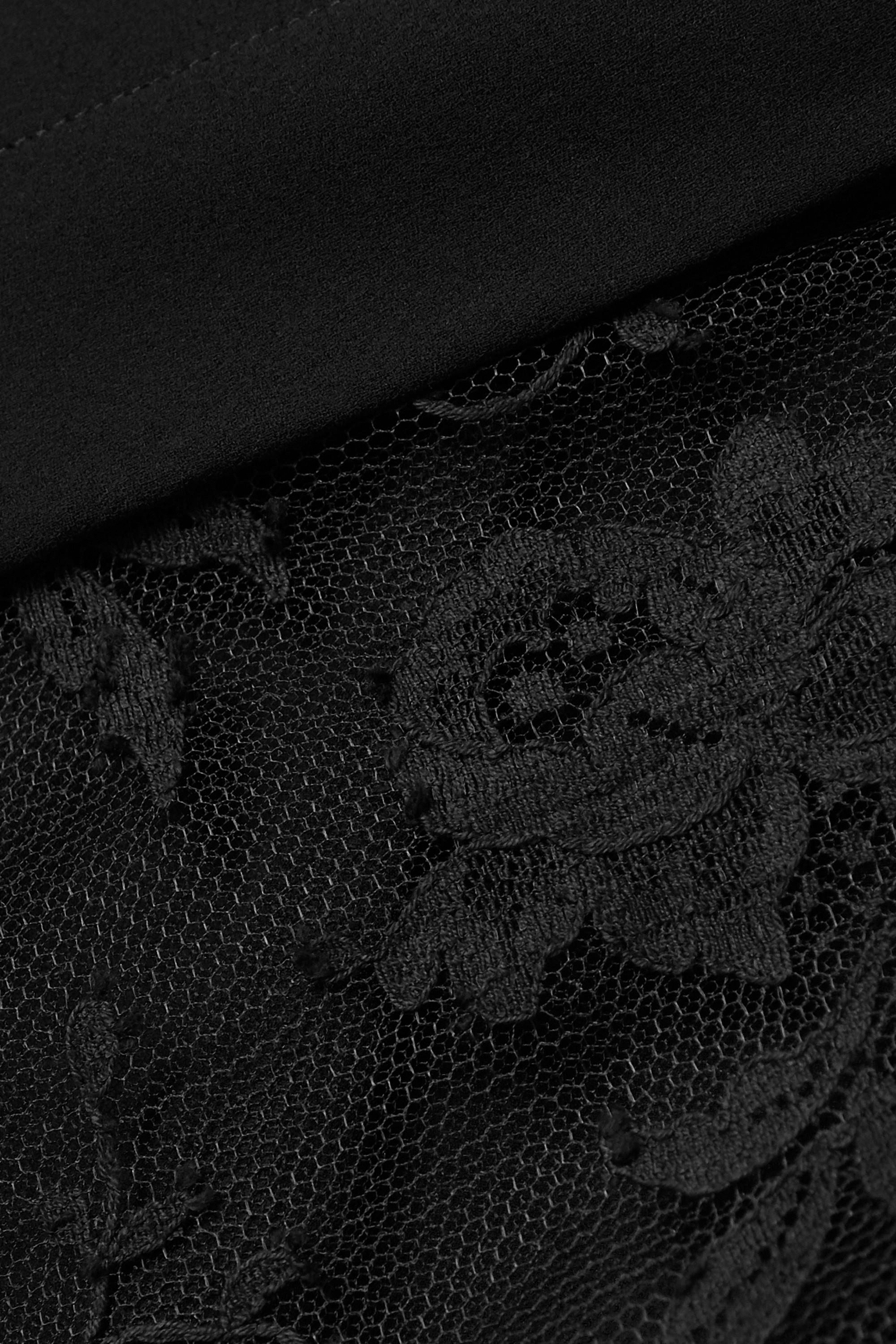 Alexander McQueen Hemd aus Seidenchiffon mit Spitzenbesatz