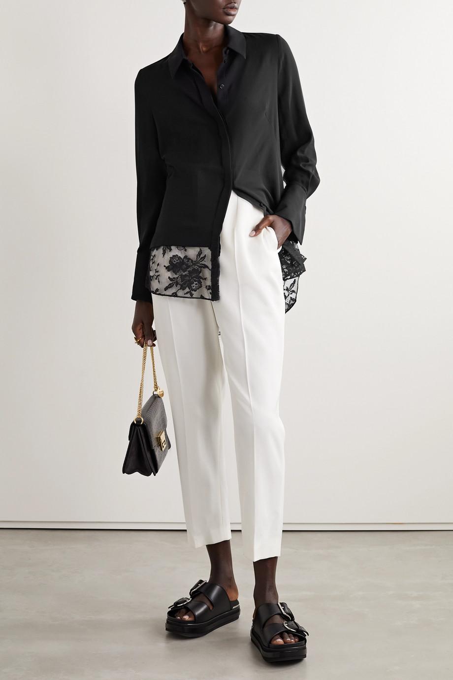Alexander McQueen Lace-trimmed silk-chiffon shirt