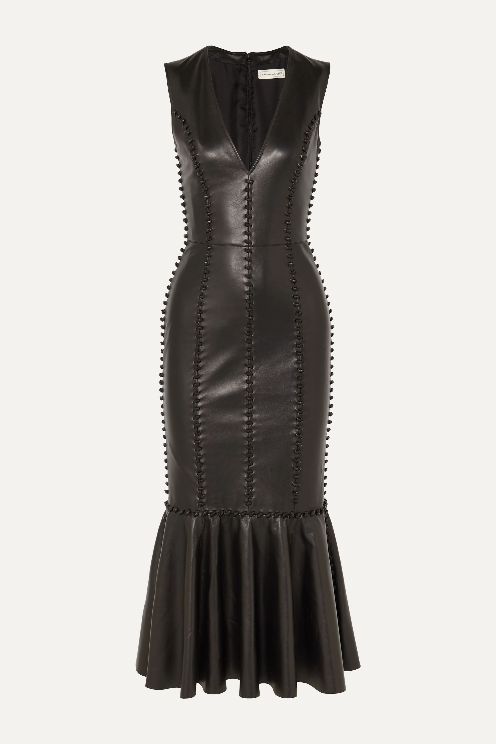 Alexander McQueen Knot-detailed leather midi dress