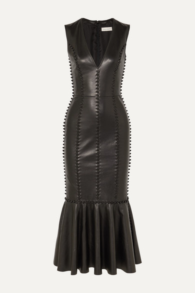 Alexander Mcqueen Dresses KNOT-DETAILED LEATHER MIDI DRESS