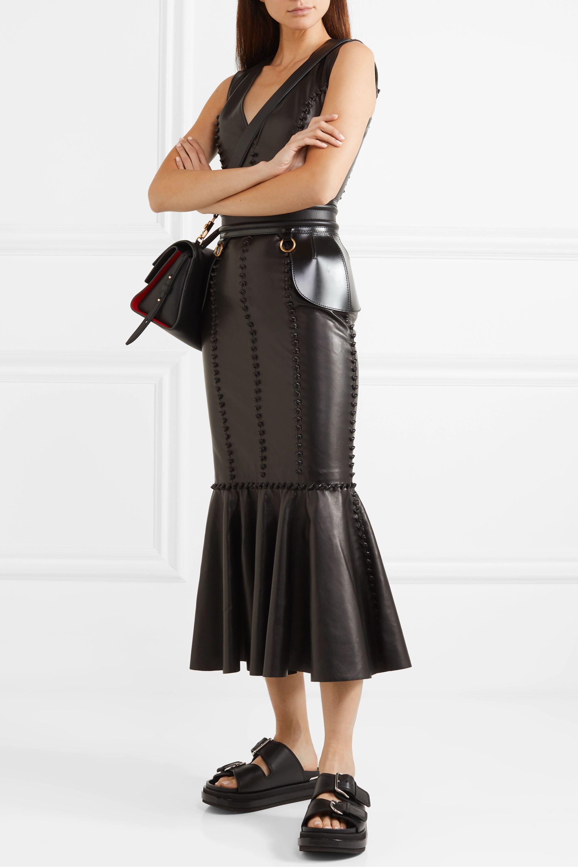 Alexander McQueen Midikleid aus Leder mit Knotendetails
