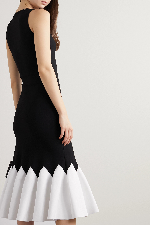 Alexander McQueen Two-tone stretch-knit peplum midi dress
