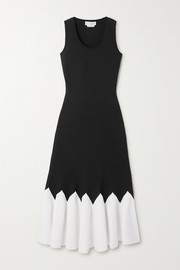 Alexander McQueen Two-tone stretch-knit peplum midi dress