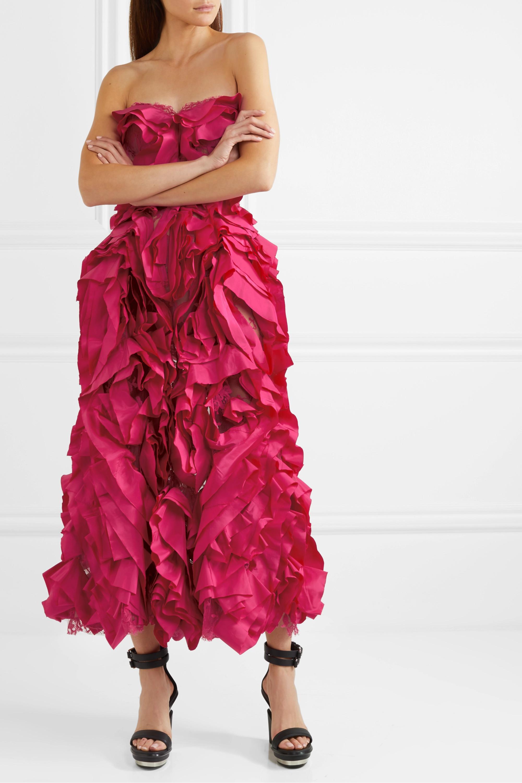 Alexander McQueen Strapless ruffled silk-taffeta and cotton-blend lace gown