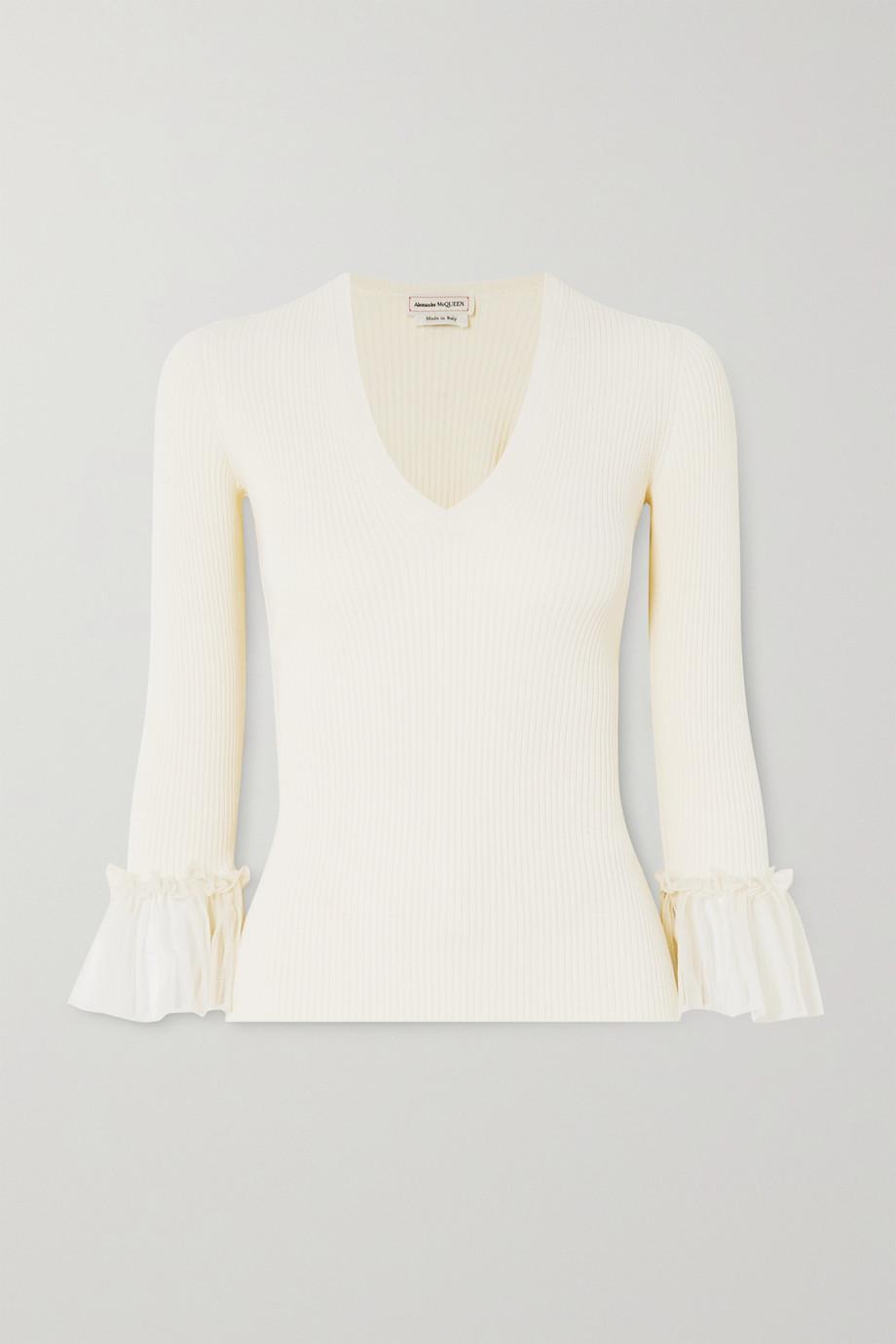Alexander McQueen Ruffled silk-trimmed ribbed-knit sweater