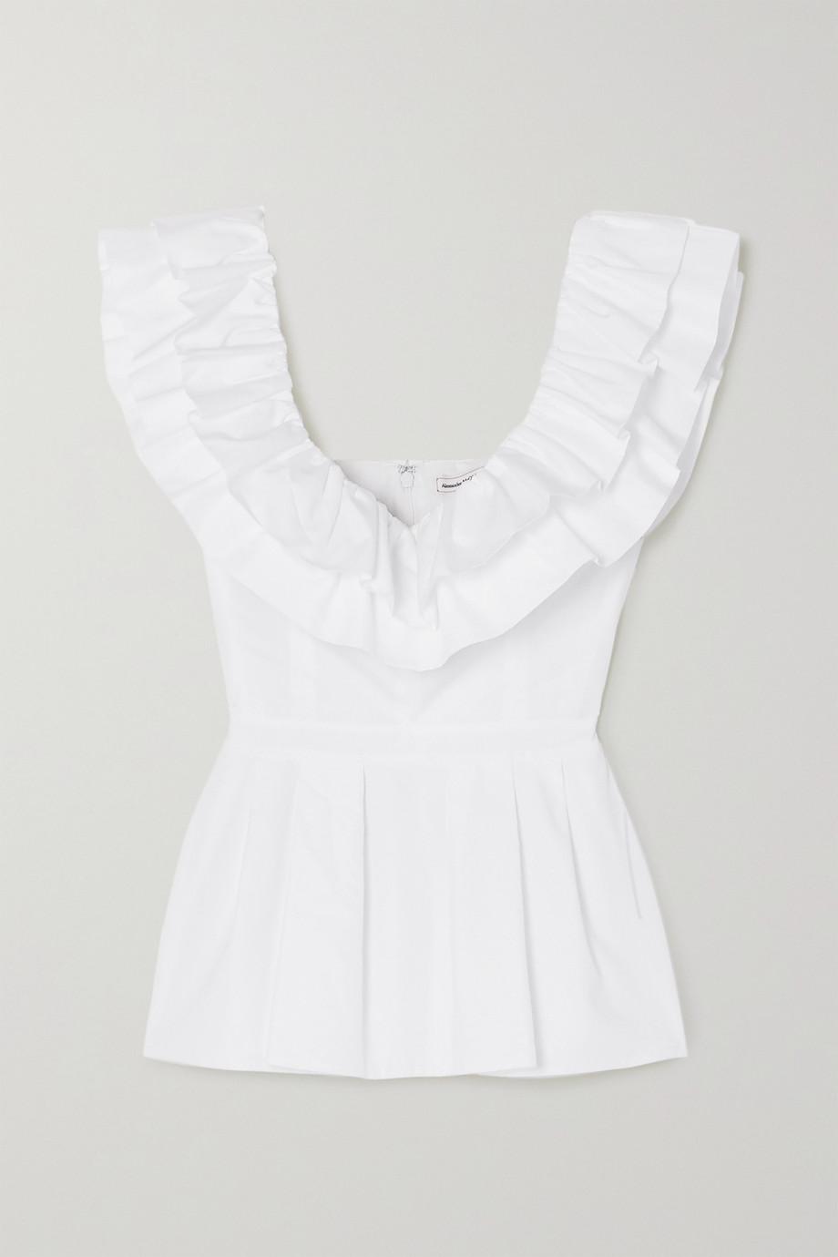 Alexander McQueen Bluse aus Baumwollpopeline mit Schößchen und Rüschen