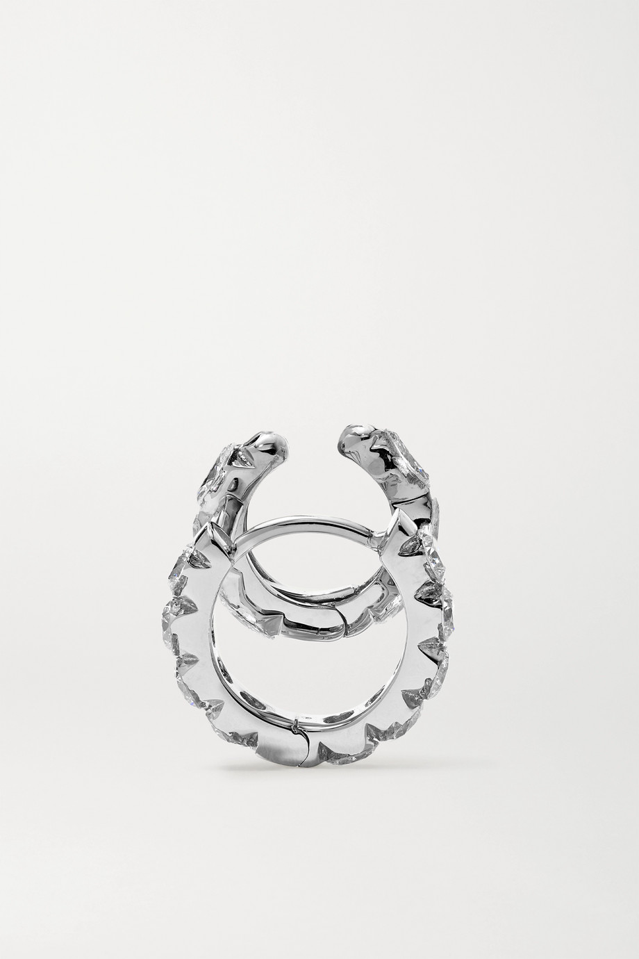 MARIA TASH Eternity 18-karat white gold diamond hoop earring