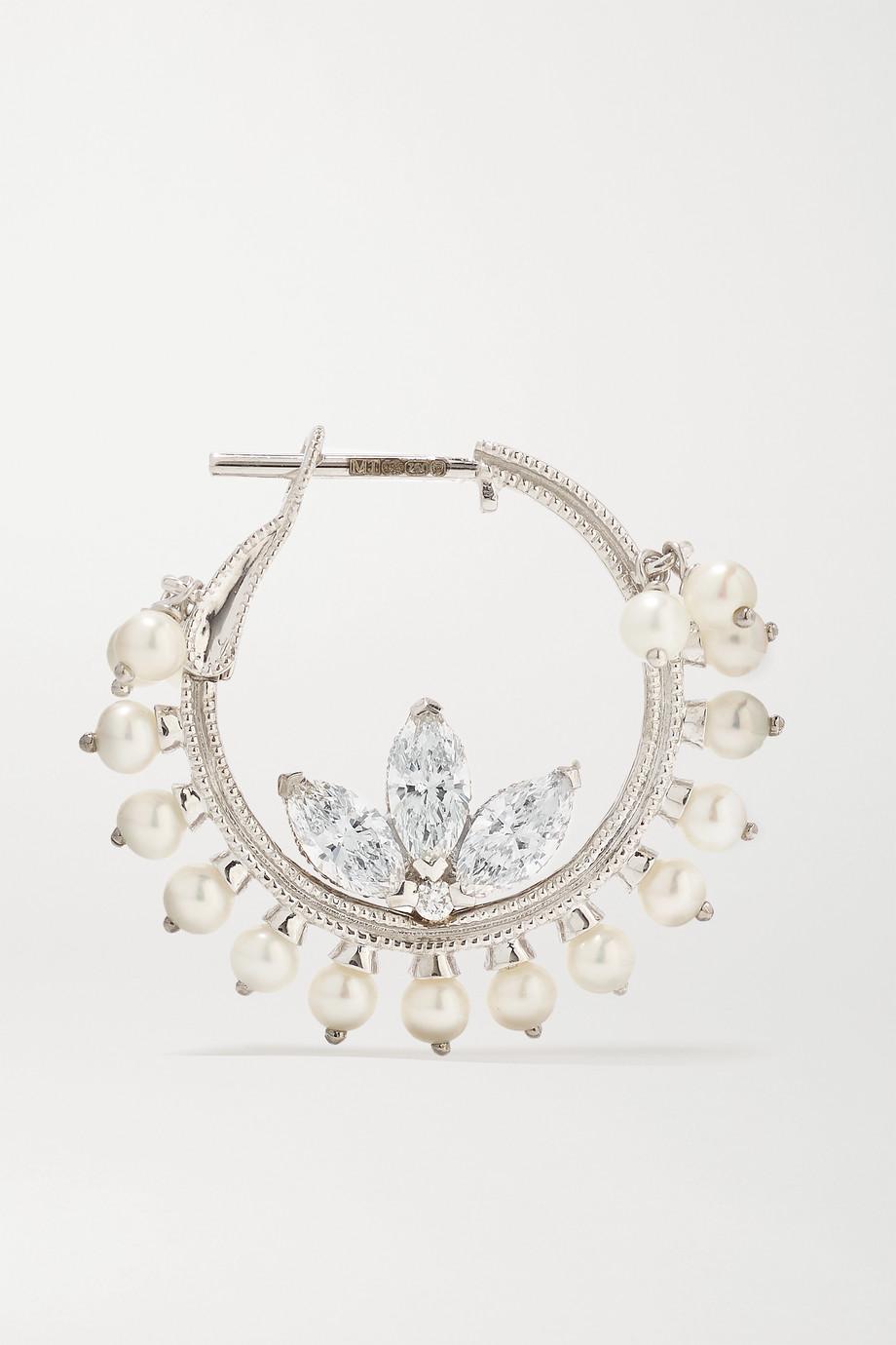 Maria Tash Lotus 16 mm Creolen aus 18 Karat Weißgold mit Diamanten und Perlen