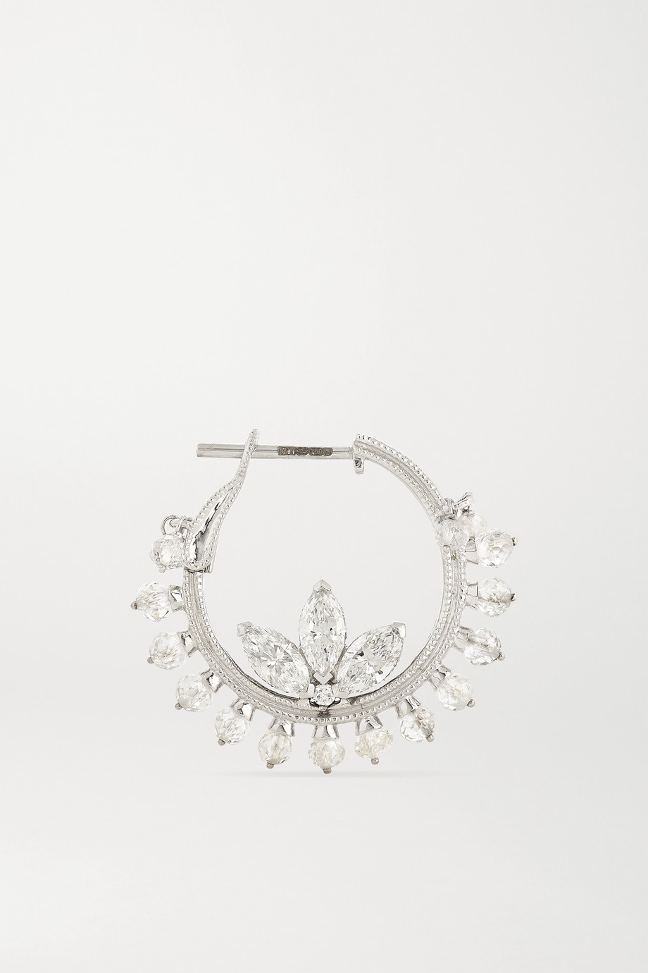 Maria Tash Lotus Coronet 16mm 18-karat white gold diamond hoop earrings