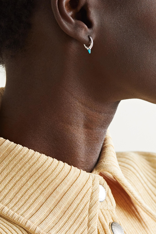 Maria Tash 8mm 18-karat white gold, diamond and turquoise hoop earring