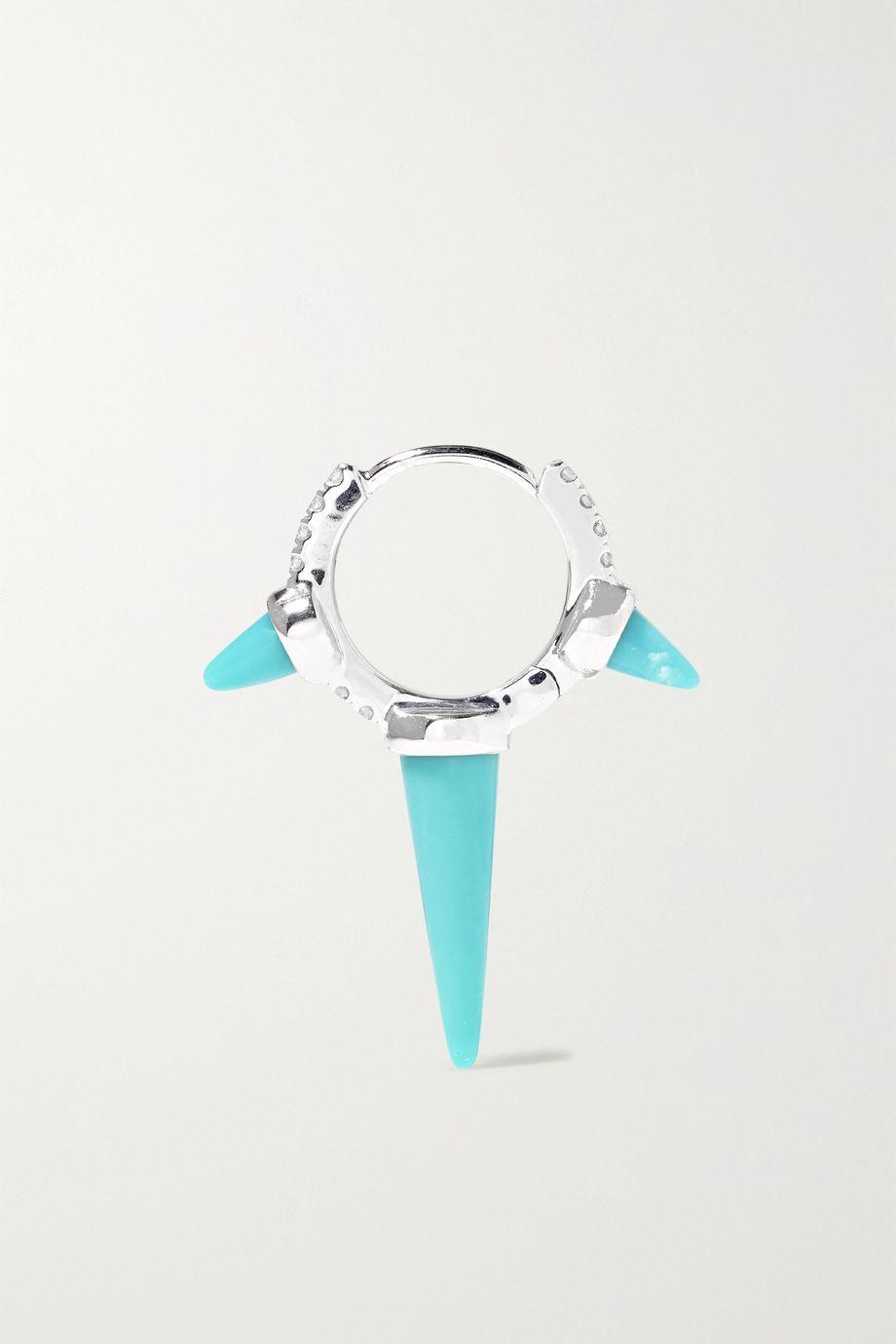 Maria Tash Eternity 8mm 18-karat white gold, turquoise and diamond hoop earring