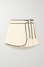 REDValentino Bow-detailed pleated crepe shorts