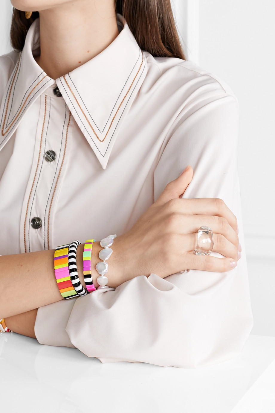Roxanne Assoulin Life Of The Party set of three enamel and gold-tone bracelets