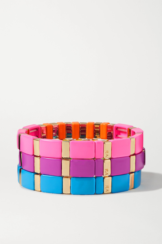 Roxanne Assoulin High Lite Set aus drei Armbändern mit Emaille, goldfarbenen Details und Kristallen