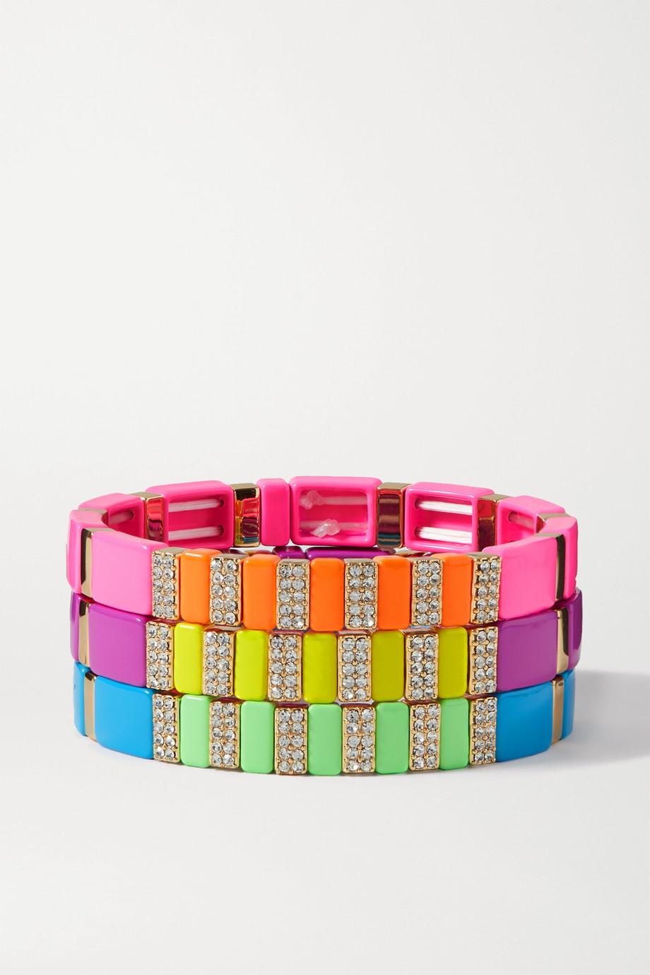 Roxanne Assoulin Set de trois bracelets en émail, métal doré et cristaux High Lite