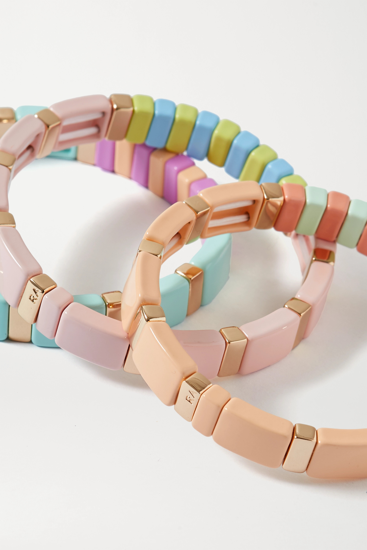 Roxanne Assoulin Soft Serve set of three enamel and gold-tone bracelets