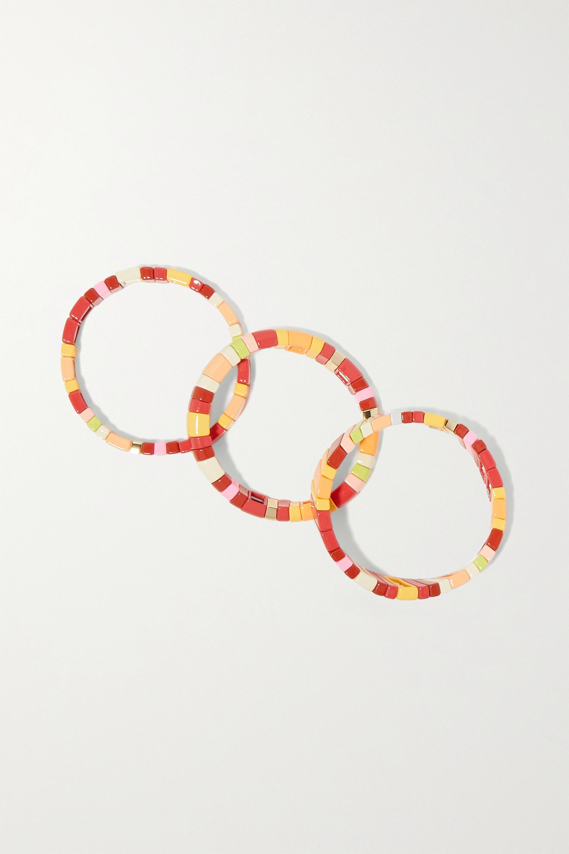 Roxanne Assoulin Negroni Set aus drei Armbändern aus Emaille mit goldfarbenem Detail