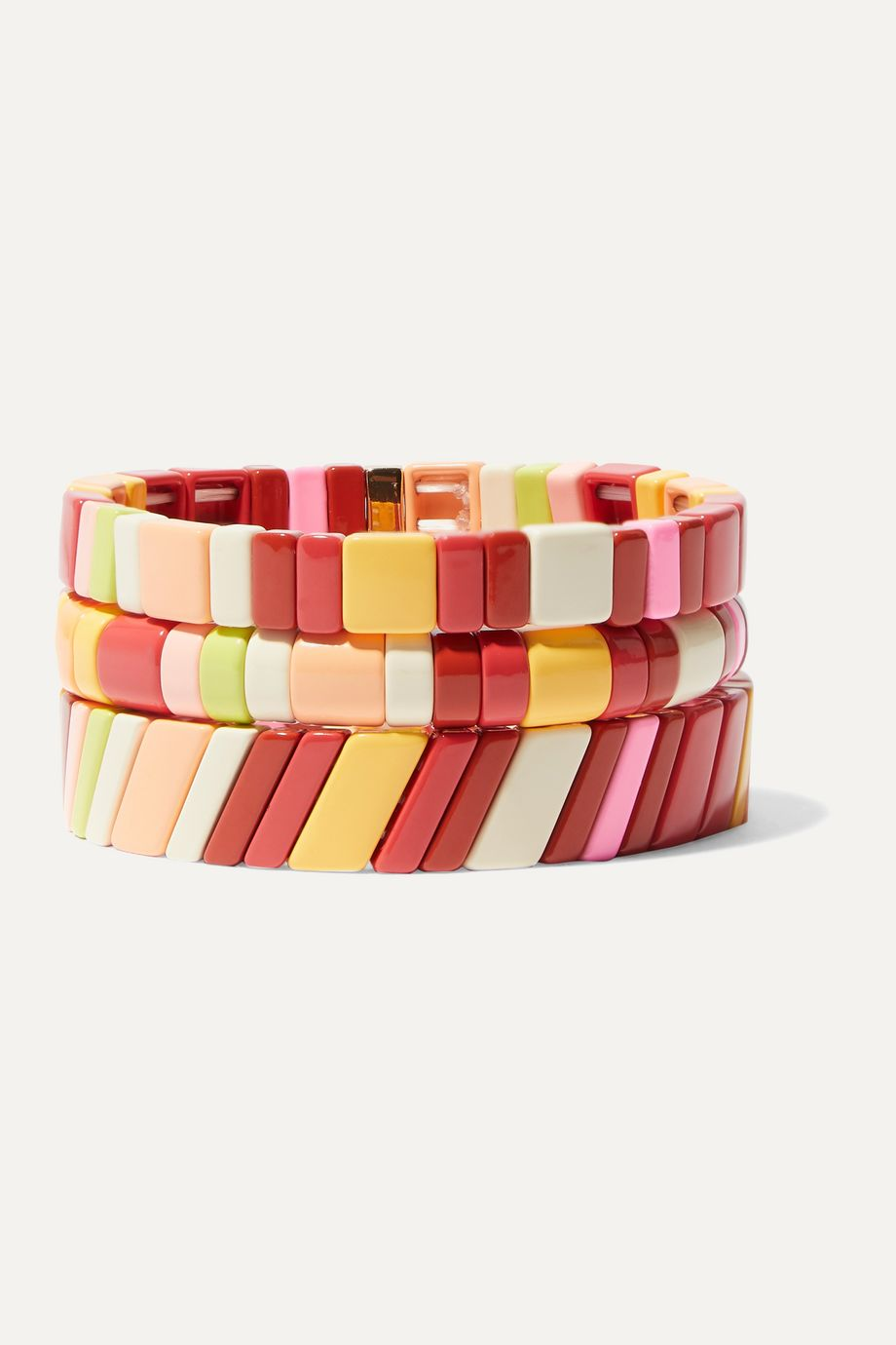 Roxanne Assoulin Negroni set of three enamel and gold-tone bracelets