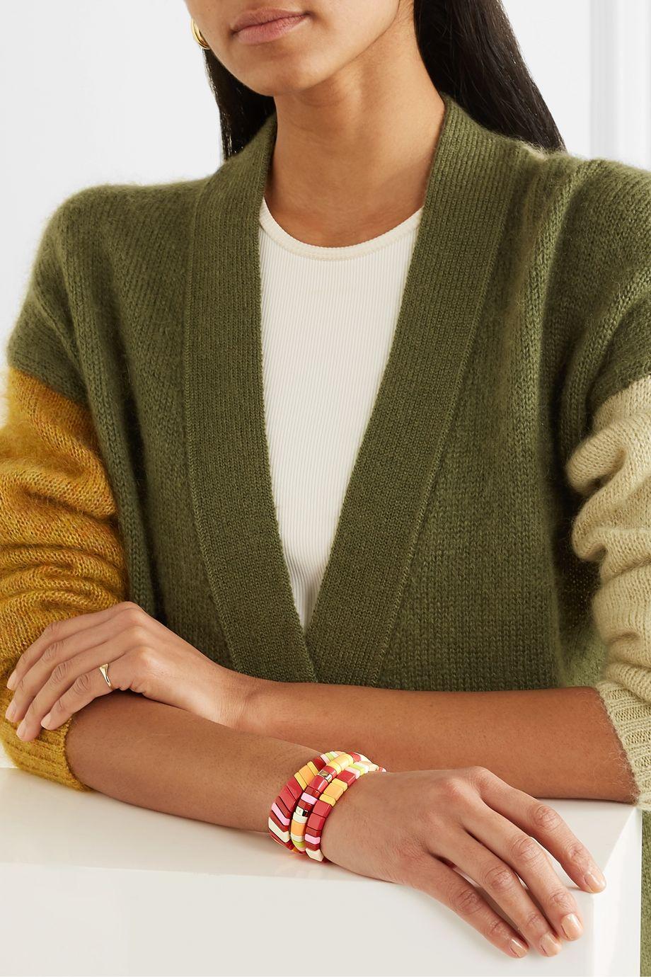 Roxanne Assoulin Set de trois bracelets en métal doré et émail Negroni