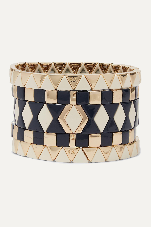 Roxanne Assoulin Suit Yourself Set aus fünf Armbändern mit Emaille und goldfarbenen Details