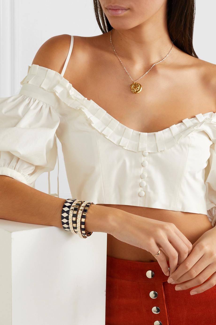 Roxanne Assoulin Set de cinq bracelets en métal doré et émail Suit Yourself
