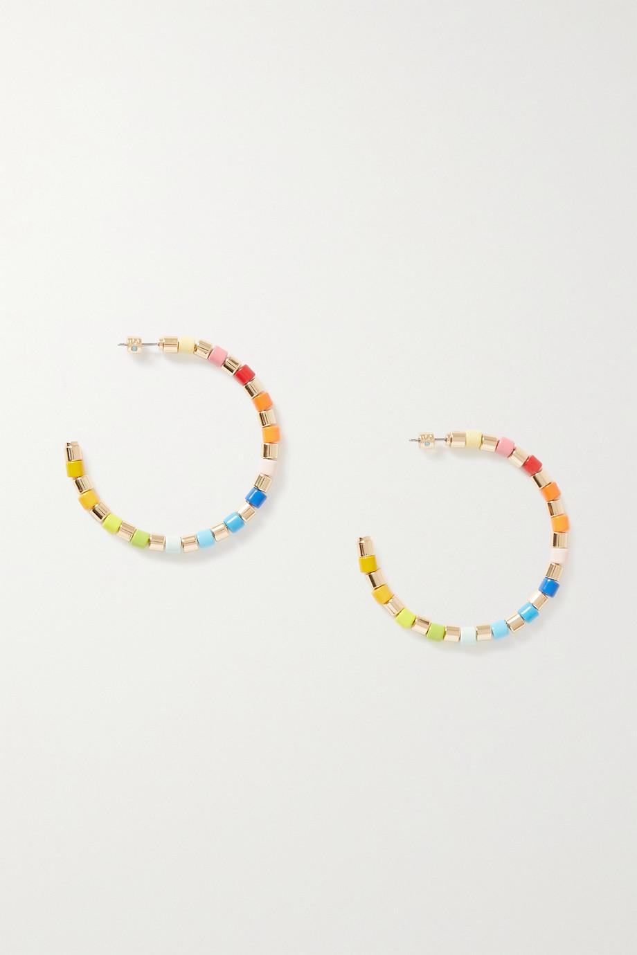 록산느 애슐린 후프 귀걸이 Roxanne Assoulin U-Tube gold-tone and enamel hoop earrings,Gold