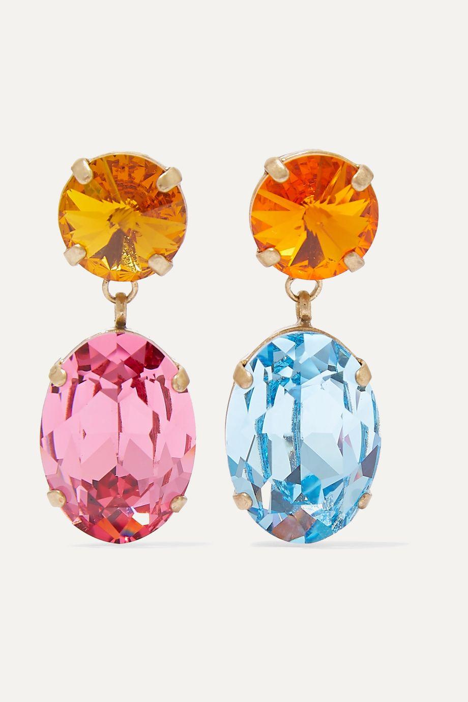 록산느 애슐린 귀걸이 Roxanne Assoulin Hip-Hop But Not Baby gold-tone and Swarovski crystal earrings,Blue