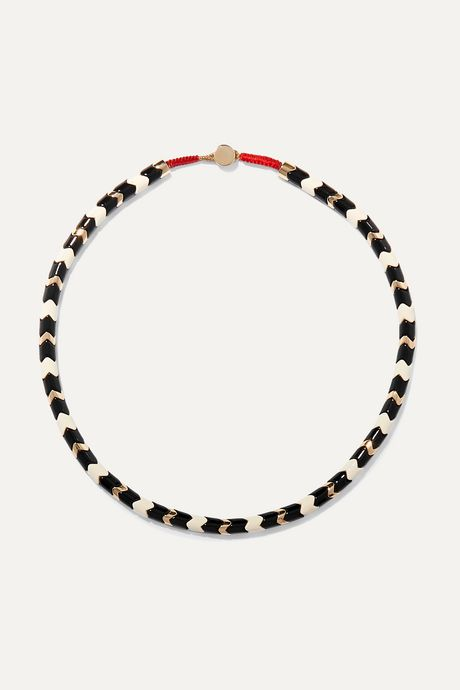 Black Suit Yourself gold-tone and enamel necklace | Roxanne Assoulin EeXcv7