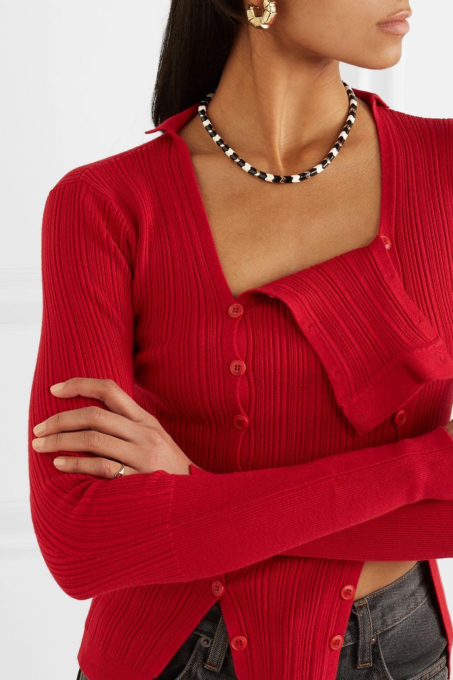 Roxanne Assoulin Collier en métal doré et émail Suit Yourself
