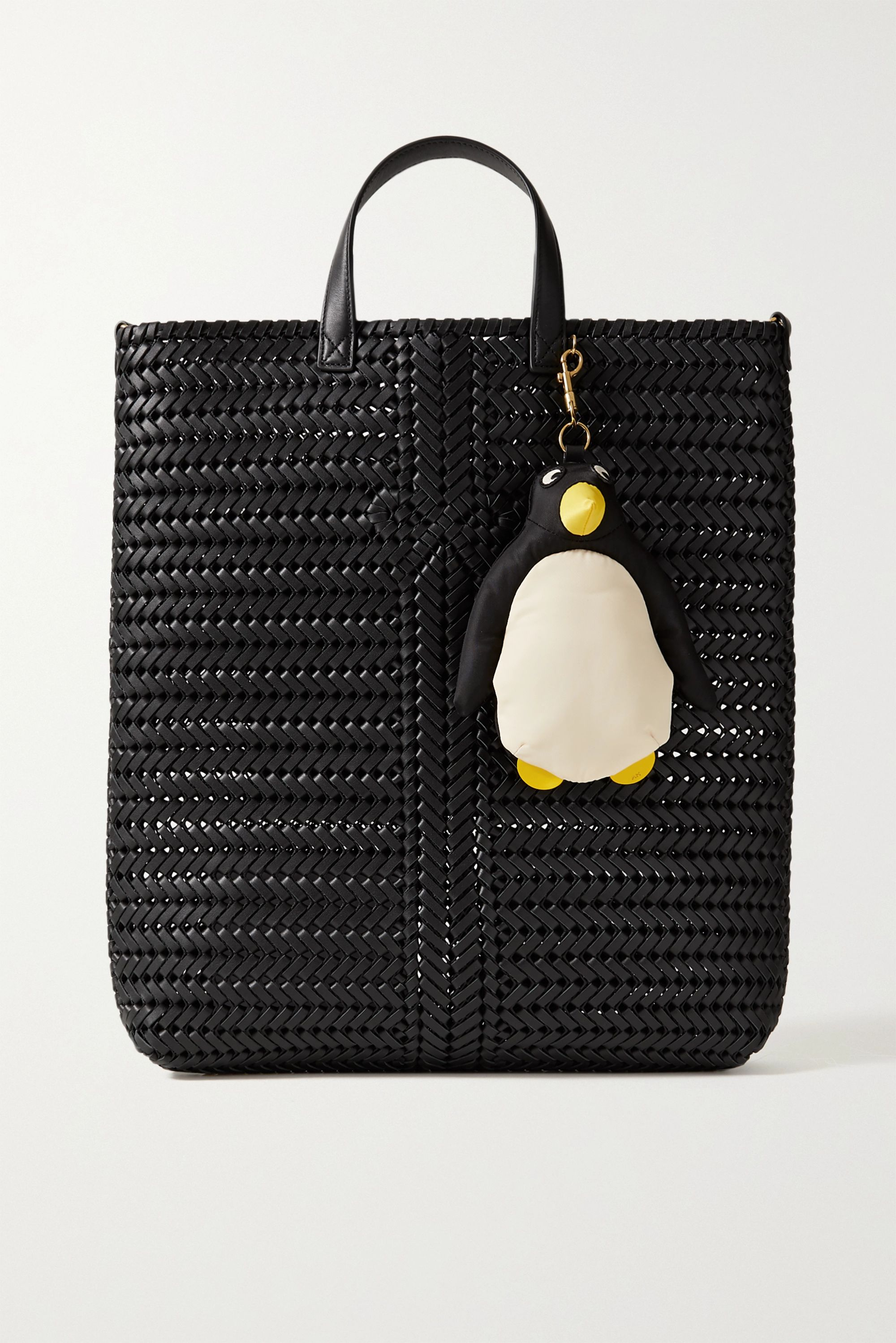 Anya Hindmarch Shopper Penguin leather-trimmed shell bag charm