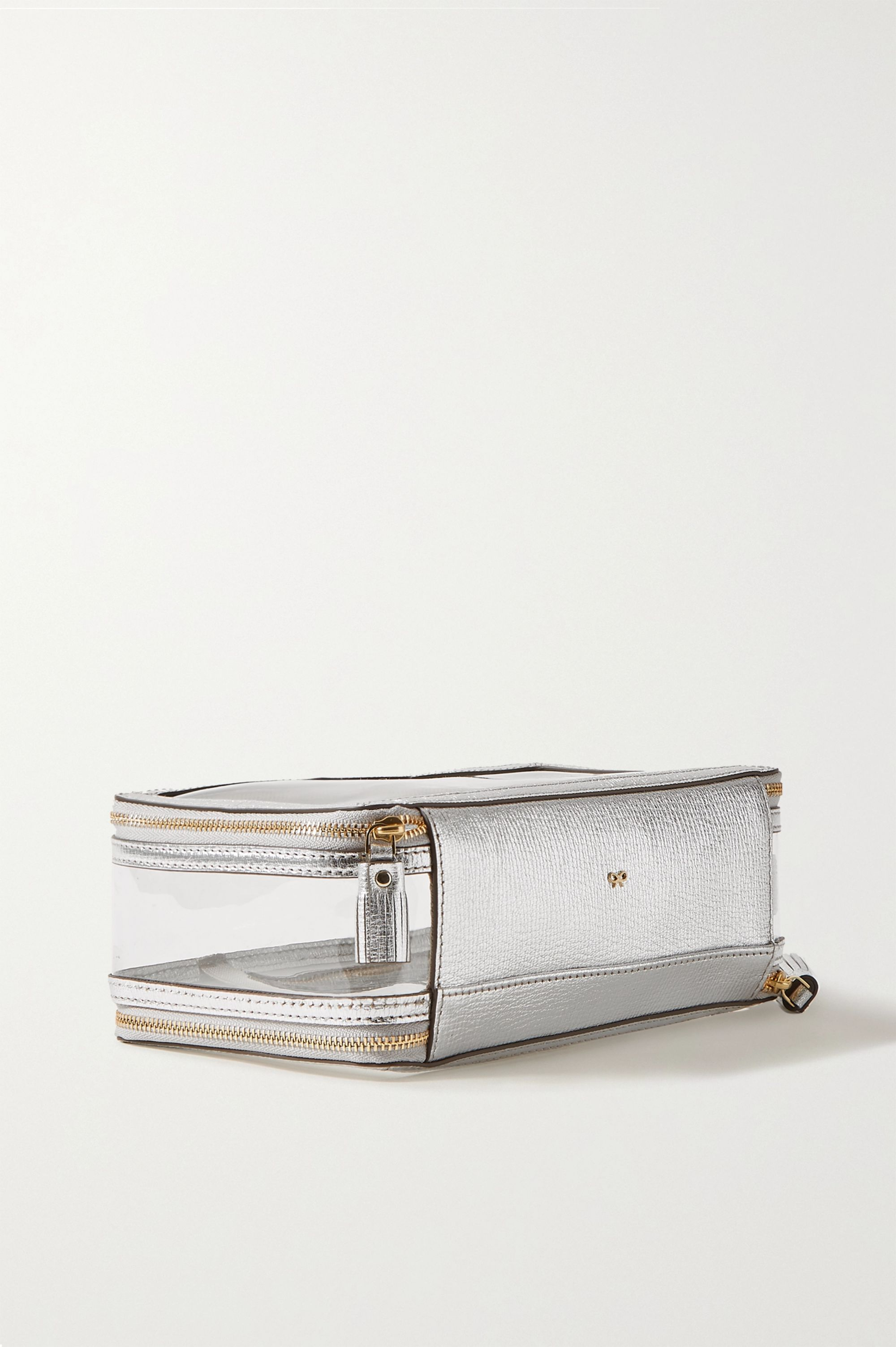 Anya Hindmarch Inflight metallic leather-trimmed Perspex cosmetics case