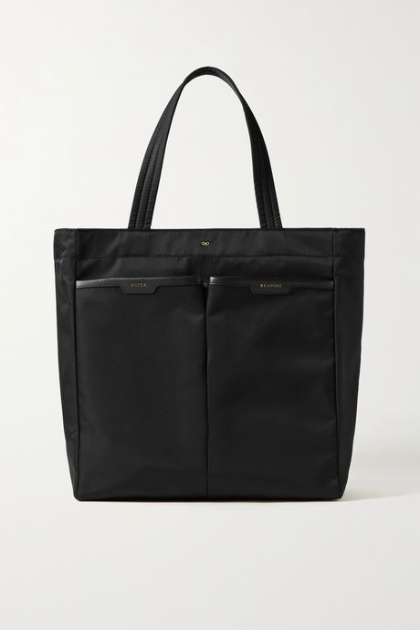 Black Nevis leather-trimmed shell tote | Anya Hindmarch haKl9U