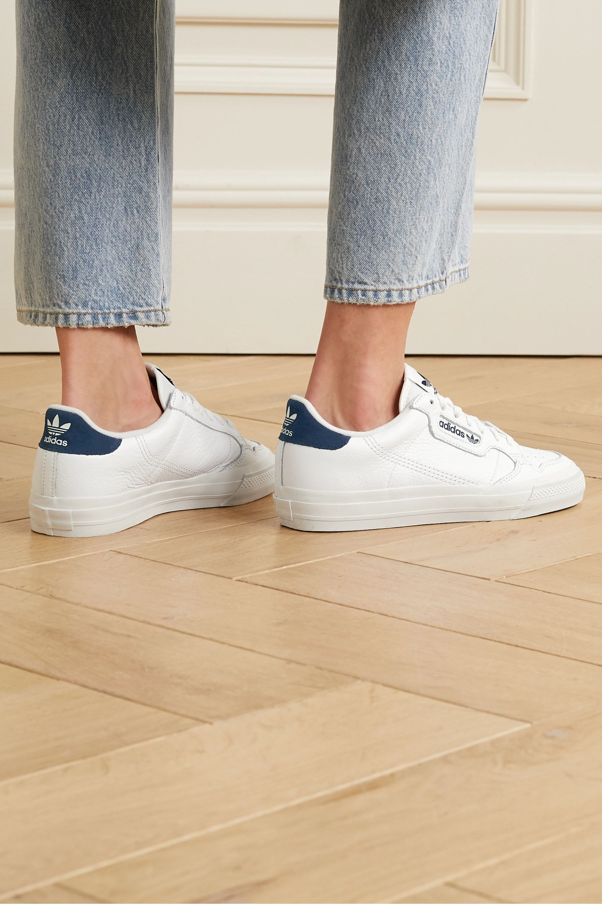 White Continental Vulc suede-trimmed