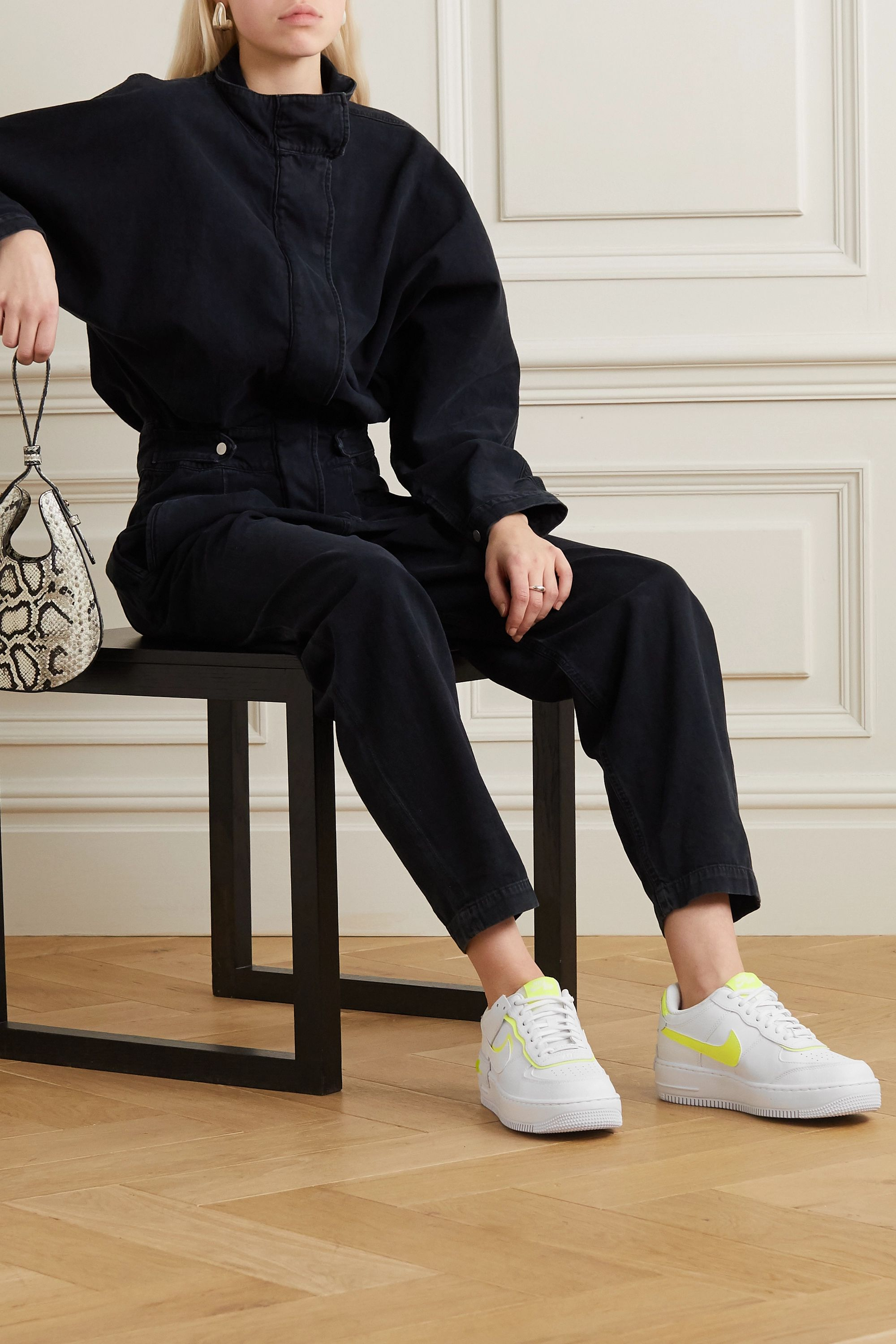 White Air Force 1 Shadow Neon Leather Sneakers Nike Net A Porter This new edition of the af1 shadow has a double look that enhances the dna of the traditional af1. air force 1 shadow neon leather sneakers