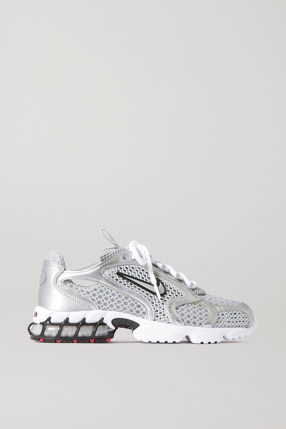 Nike Air Zoom Spiridon Cage 2 metallic faux leather-trimmed mesh sneakers