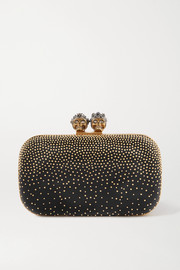 Queen & King crystal-embellished studded leather clutch