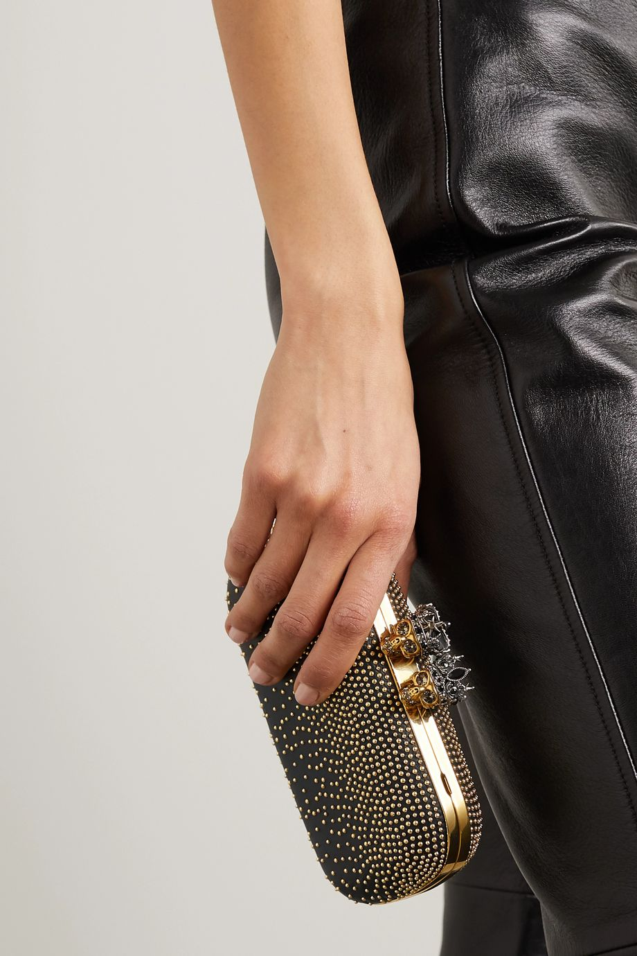 Alexander McQueen Queen & King crystal-embellished studded leather clutch